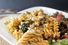 """VeganFling: Pumpkin """"Mac 'n Cheese"""" with Swiss Chard and Pine Nuts"""