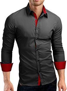 Grin&Bear Slim Fit men's wrinkle free contrast shirt dress shirt, long sleeve, dark grey-red, M, SH510