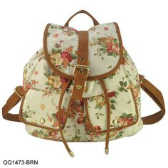 New Arrival Floral Print Backpack For Girl Women Leisure Bag Canvas School Bags Free Shipping QQ1473