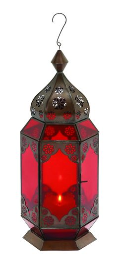 Traditional Metal Lantern With Red Glass And Intricate Detailing