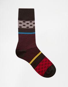 Socken von Paul Smith Stoff mit hohem Baumwollanteil elastische Öffnung Maschinenwäsche 82% Baumwolle, 17% Nylon, 1% Elastan