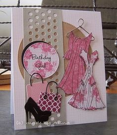 La-La Land Crafts stamps No cute stamps projects. Cute Cards, Diy Cards, Prima Paper Dolls, Prima Doll Stamps, Dress Card, Unique Cards, Handmade Birthday Cards, Scrapbook Cards, Homemade Cards