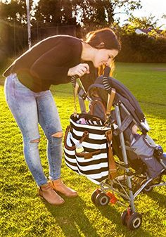 Diaper Bag by Hip Cub - Plus Matching Baby Changing Pad - Black and White Stripe Designer Cotton Canvas W/ Cute Tan Trim