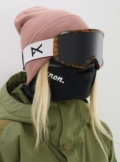 mask aesthetic girl Women's Anon Deringer Goggle + Spare Lens + MFI Face Mask shown in Frame: Block Tort, Lens: SONAR Smoke by Zeiss, Spare Lens: Amber, MFI Face Mask Included