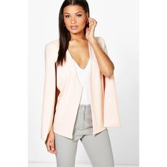 Boohoo Katie Cape Blazer ($30) ❤ liked on Polyvore featuring outerwear, jackets, blazers, nude, bomber jacket, cape coat, duster coat, cape blazer and pink cape