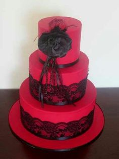 Red lace cake