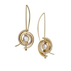 INSPIRO PETITE SPIRAL EARRINGS WITH SIDE DIAMONDS: Petite Spiral Earrings with Side Diamonds. 14K yellow gold.
