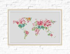 BOGO FREE World Map Cross Stitch Pattern Floral World Map