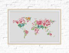 BOGO FREE World Map Cross Stitch Pattern World Map by StitchLine