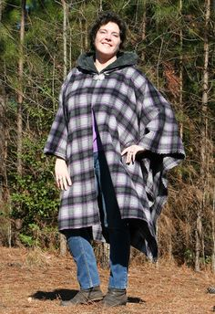 Ready to Ship! Purple Black Grey Plaid Wool Hooded Cape or Poncho by @DonnasDesignsSC on Etsy #pottiteam #a4team #ssps