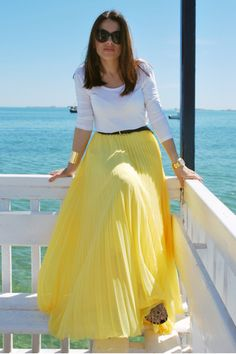 Cheap chiffon skirt, Buy Directly from China Suppliers:Bright Yellow Summer Beach Style Chiffon Skirts A Line Floor Length Long Maxi Pleated Skirt Personalized Women Skirts Indian Fashion Dresses, Dress Indian Style, Fashion Wear, Skirt Fashion, Fashion Outfits, Yellow Skirt Outfits, Maxi Skirt Outfits, Maxi Skirts, Western Dresses For Girl