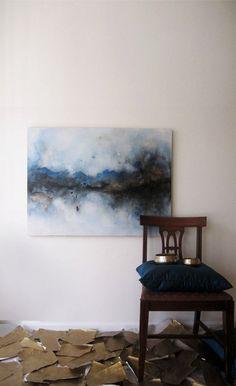 Abstract Painting Blue Black Gold Metallic 30 x by ArtByCornelia, $499.00