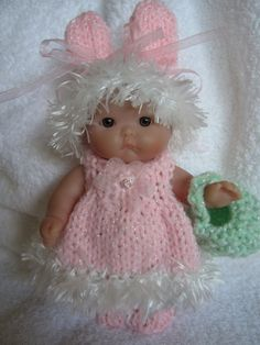 Knitting Pattern Berenguer Baby Doll Bunny Dress Set Itty Bitty dolls dress bunny ear hat easter basket and shoes pdf download doll clothes
