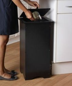 also in white wooden lift off hinged lid trash container - Trash Containers For Kitchen