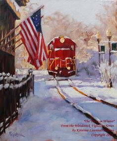 Woodstock Train In Winter Large Print of Original by Woodstock Georgia, Large Prints, Original Paintings, Train, The Originals, Winter, Art, Winter Time, Art Background