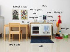 Real Montessori Homes: Children's Kitchen & Snack Areas Ikea Montessori, Montessori Toddler Rooms, Toddler Playroom, Montessori Bedroom, Ikea Play Kitchen, Toddler Kitchen, Childrens Kitchens, Room Deco, Montessori Practical Life