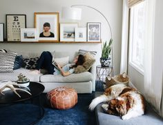 Use an Ikea Kivik Chaise cushion as a dog bed in a living room - How We Keep Our Home Clean with a Big, Hairy Dog | Chris Loves Julia