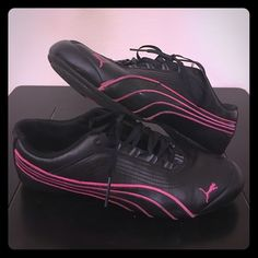 Puma shoes Black with pink trim puma shoes. Women's size 7 1/2. Gently used. Make an offer. Puma Shoes Athletic Shoes