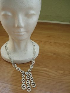 Vintage 1960s Necklace Trifari White Enamel by bycinbyhand on Etsy