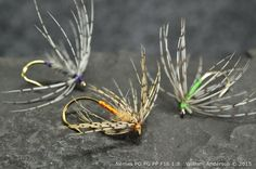 Sylvester Nemes original tied flies. The Partridge and Orange, Partridge and Green and a Partridge and Dun. Soft Hackle Flies, Nemes Patterns, North Country Spider. WilliamsFavorite.com