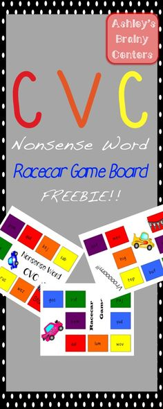 FREEBIE!!! CVC nonsense word racecar game!! All sorts of fun! Be sure to check out the full product for more nonsense word racecar games!