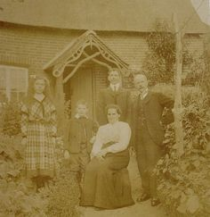 Antique Photograph  Family Photo with Thatched Cottage by LoosLoft, $6.00