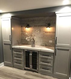 Would be great in a butlers pantry, kitchen, dining room, or basement. Wet Bar Basement, Basement Kitchenette, Basement Bar Designs, Home Bar Designs, Basement Ideas, Basement Finishing, Wet Bar Designs, Finished Basement Designs, Basement Makeover