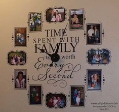 Time Spent Clock – Family is Worth Every Second – Photo Wall Clock w/working clock parts/hands decal – Includes VINYL FRAMES 4 x 6 - Wanduhr Ideen Family Clock, Family Wall Decor, Unique Wall Decor, Letter Wall Decor, Family Tree Wall Decal, Unique Wall Clocks, Photo Wall Clocks, Photo Clock, Picture Clock