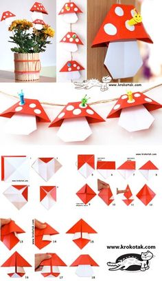ORIGAMI mushrooms think playing fairy tale village, game school # fairy tale village . - ORIGAMI mushrooms think play fairy tale village, # Fairy tale village # - Origami Design, Diy Origami, Origami Simple, Origami And Kirigami, Paper Crafts Origami, Origami Tutorial, Paper Crafting, Dollar Origami, Origami Ball