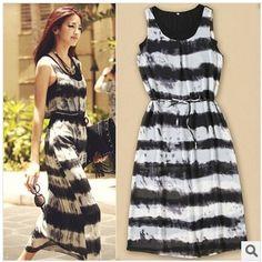 2014 Summer Women's Long Twinset Maxi Saias Vestidos Longos Faldas Chiffon Print Striped Ropa Mujer Women Dresses 2 pieces Sets $22.68