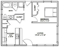 Granny pods with garage House -- -- 720 sq ft - Excellent Floor Plans Small House Floor Plans, Cottage Floor Plans, Cabin Floor Plans, The Plan, How To Plan, Lofts, Granny Pods, Backyard Cottage, Apartment Floor Plans