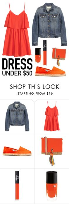 """""""Dress under 50$"""" by dye-like ❤ liked on Polyvore featuring H&M, Soludos, PIN UP STARS, NARS Cosmetics, Lancôme, Summer, red, HM, Jeanjacket and Dressunder50"""