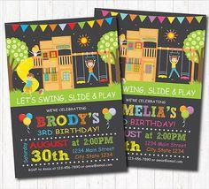 Playground Birthday Invitation Park Birthday Invitation play