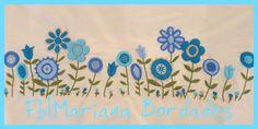 www.facebook.com/mariana.bordados1 Bordado a mano con Lana Embroidery Motifs, Embroidery Suits, Hand Applique, Border Design, Fabric Art, Diy And Crafts, Floral Design, Patches, Design Inspiration