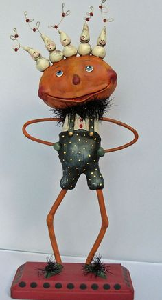 Halloween Folk Art Sculpted Paper Clay Pumpkin head with Ghosts. Boy Howdie Folk Art