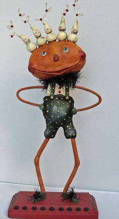 Halloween Folk Art Sculpted  Paper Clay Pumpkin head with Ghosts. Boy Howdie Folk Art