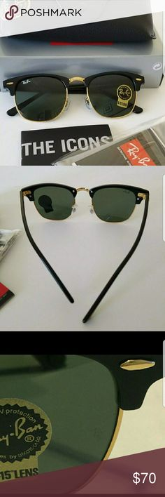 Ray ban clubmaster black frame. Ray ban clubmaster.  Brand new with box case and cleaning cloth.  Made in itlay.  Size 51mm. Ray-Ban Accessories Sunglasses