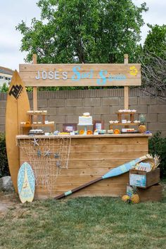 Cool dessert table at a vintage luau Hawaiian birthday party! See more party planning ideas at CatchMyParty.com!
