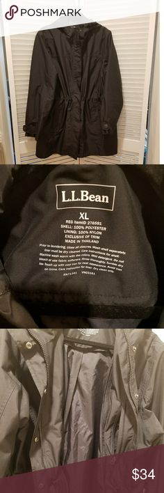 "L.L. Bean Women's Hooded Black Raincoat 34.5"" long & 22"" in the bust laying flat. This jacket doesn't have its original liner. However, the jacket itself is in excellent condition & is machine washable, the liner wasn't. Hubby did laundry, washed the liner &...enough said. Worn just a couple of times, as the jacket was too small for me in the bust, (fortunately, I bought one larger from another posher). The jacket is waterproof w/ plenty of pockets. With a sweater, you'd be comfortable in…"