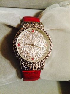New Gorgeous Western Detailed Geneva Cranberry & Silver Cuff Watch #Geneva #Fashion