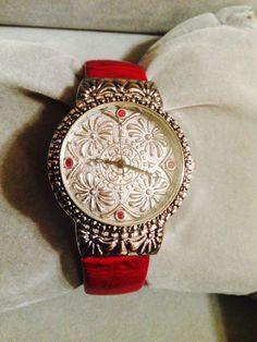 New Gorgeous Western Detailed Geneva Cranberry & Silver Cuff Watch #Geneva #Fashion