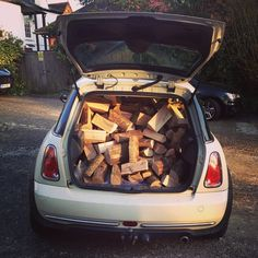 Fitting as many logs as possible into my Mini for my wood fired oven