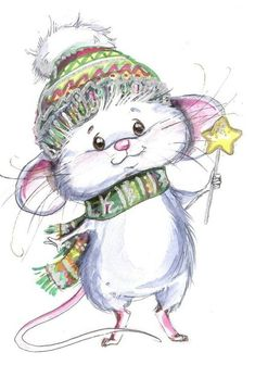 Little Christmas Mouse drawing. Christmas Drawing, Christmas Art, Vintage Christmas, Maus Illustration, Illustrations, Photo Illustration, Cute Images, Cute Pictures, Illustration Inspiration