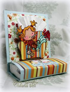 Get Well Soon 'Card' # Inspired and Unscripted: Pink Cat Studio Digi Stamp Release and Mini Kleenex Package Holder Tutorial