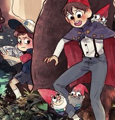 The gnomes are like, 'Welcome our long lost gnome king!' and Dipper is about to receive a shock. (Over the Garden Wall meets Gravity Falls)<<<ha gnome king. Cartoon Cartoon, Cartoon Shows, Cartoon Posters, Gravity Falls Crossover, Fandom Crossover, Garden Falls, Dipper Y Mabel, Gavity Falls, Over The Garden Wall