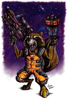"""My very first Rocket Raccoon. He says """"welcome to the galaxy."""" #RocketRacoon #GuardiansOfTheGalaxy #GeekArt #Drawing"""