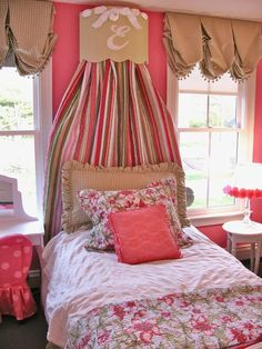 Pretty Princess Bed Framed by Fabric Shades, Great Blend of Color.