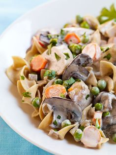 In this dump Slow-Cooker Turkey Stroganoff recipe, turkey breast is cooked in the crock pot with lots of mushrooms and carrots, then pulled off the bone, chopped and stirred back into a creamy sauce.