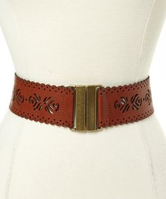 Look at this #zulilyfind! Cognac Flourish Stretch Belt by Betsey Johnson #zulilyfinds $13