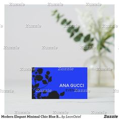 Shop Modern Elegant Minimal Chic Blue Black Floral Business Card created by LeonOziel. Modern Business Cards, Minimal Chic, Party Favors, Minimalism, Stationery, Things To Come, Elegant, Floral, Prints